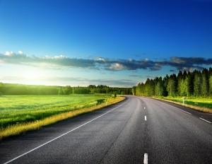 Droga asfaltowa przy lesie